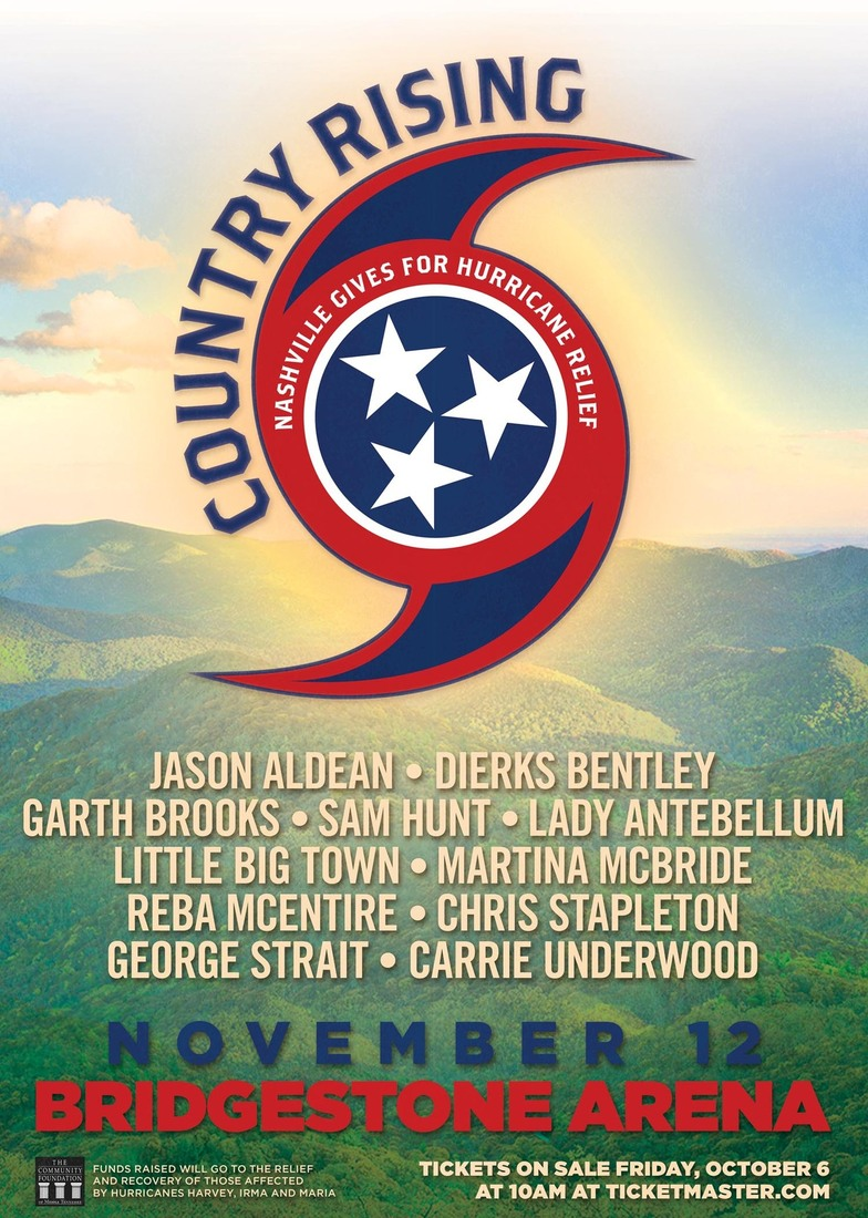 Country music's biggest names to play benefit concert to raise funds